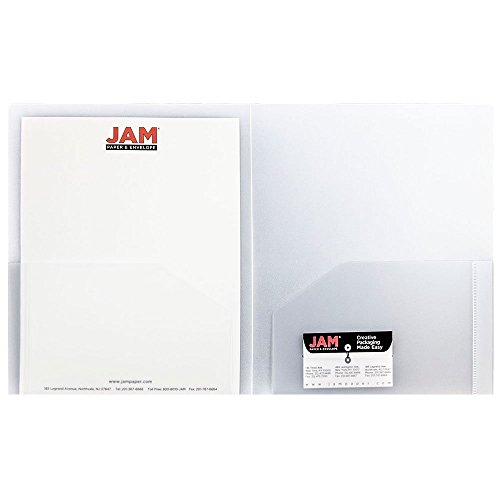 JAM Paper Heavy Duty Plastic Two Pocket Presentation Folders - Clear - 6/pack