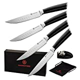 MARKSFORD Steak Knives Set of 4 | Premium Non-Serrated German Stainless Steel | Quality Straight Edge Cutlery w/Micarta Wood | Professional Steak Knives for Home, Kitchen, Restaurant | Inc Sharpener