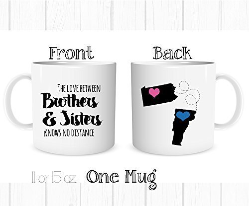 Personalized Sisters Heart - Personalized Side by Side or Miles Apart, Brother and Sister Are Always Connected at Heart Mug