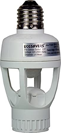 Ecosavers-Sensor de movimiento lampbase E27Sensor PIR, acrílico, color blanco