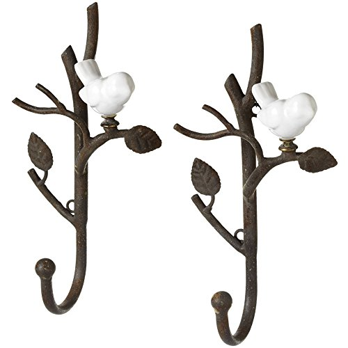 White Ceramic Bird On Metal Branch Wall Hook - Set of 2
