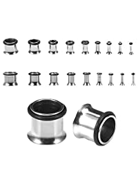 BodyJ4You Plugs Kit 14G-00G Stainless Steel Plugs Stretching Kit (1.6mm-10mm) - 18 Pieces
