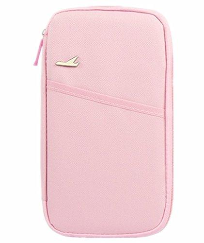 linshe Unisex multifuncional cartera de viaje pasaporte/ticket/tarjeta de Crédito bolsillo documento bolsa 600d Oxford tela carcasa protectora paquete de accesorios de viaje mujeres hombres par Casual rosa