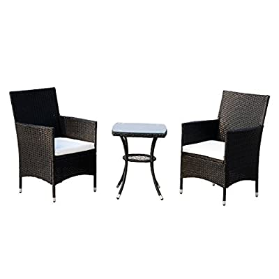 Outsunny 3 Piece 3 Piece Rattan Outdoor Cushioned Bistro Table and Chairs Set