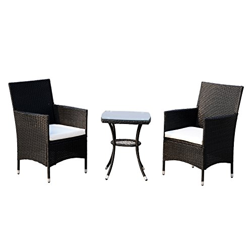 Outsunny 3 Piece Rattan Bistro Table Chairs Set Outdoor Cushioned - Black