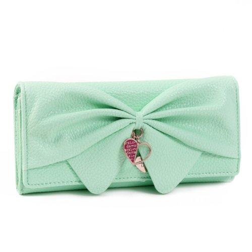 - Damara Women Long Faux Leather Bifold Large Bow Design Wallet Handbag (Light green)