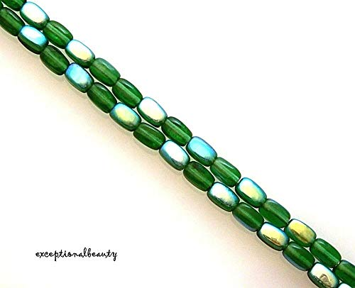 70 Emerald 6x4mm Rectangle Oval Rice Beads