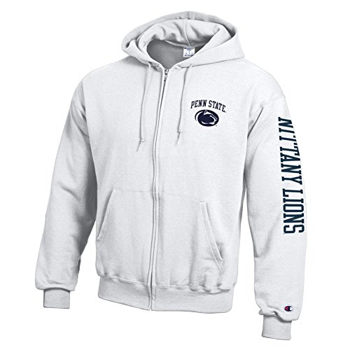 Penn State Nittany Lions Full Zip Hooded Sweatshirt Letterman White - XL ()