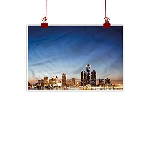 Sunset glow Decorative Art Print Detroit,Serene Waterfront View 48