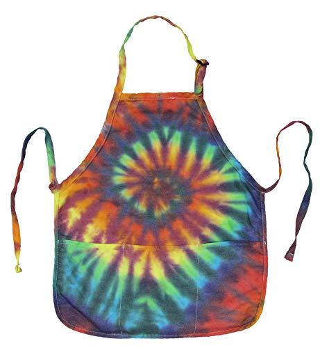 Brightside Tie Dye 3-Pocket Waist Length Bib Apron - Extreme Rainbow