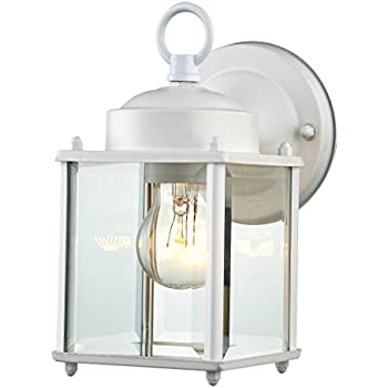 "Glass Wall Light Fixture Exterior or Interior Use 1 Light White Finished Steel Wall Sconce 4''(W) 8.25""(H) Extends 5.9"" Suitable for Patio,Entrance Light, Hallway"