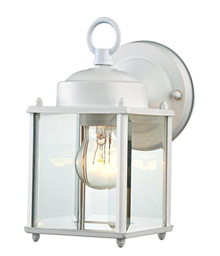 Glass Wall Light Fixture Exterior or Interior Use 1 Light White Finished Steel Wall Sconce 4''(W) 8.25