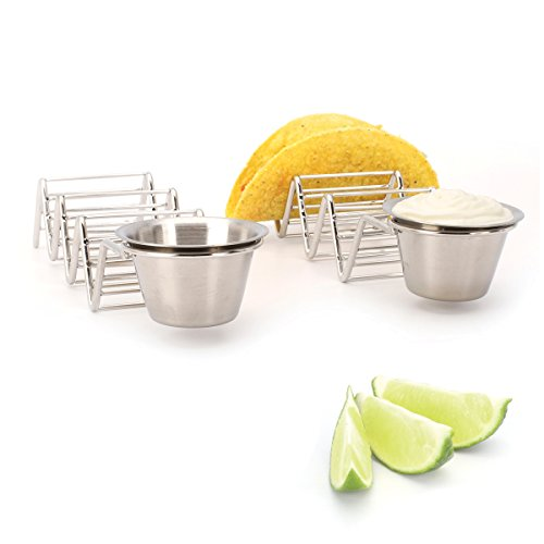 2 Lb. Depot Taco Shell Holder, Stainless Steel Taco Rack Hard Soft Taco's, 2 Pack (Holds 3 Tacos with Cup) by 2 Lb. Depot (Image #4)