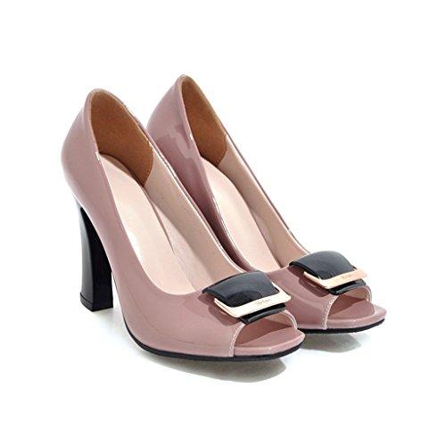 Épais Chaussures Profonde Printemps Hauts Talon Escarpins Poisson Bouche En Verni Tige Femme Similicuir Rose De Été Talons Peu RpfAnSFp6