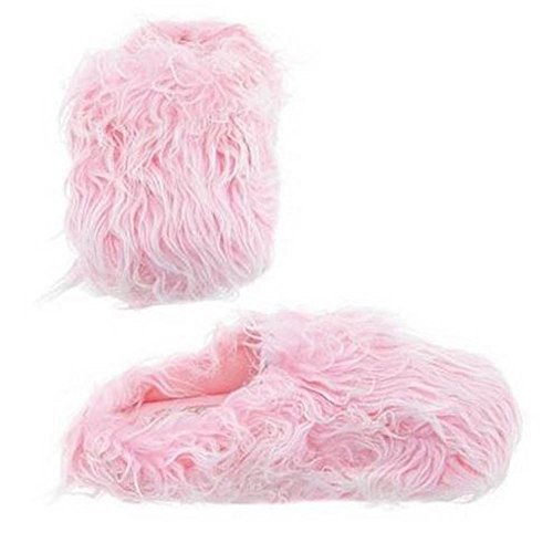 Womens Furry Fuzzy Slippers (Medium (6.5-7.5), Pink) by Easy