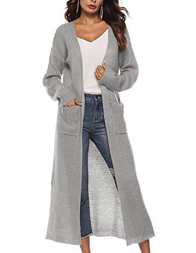 Womens Long Knit Cardigan Sweater Casual Loose Fit Fall Thin Lightweight Long Sleeve Open Cardigan Rib Knit Sweater Grey