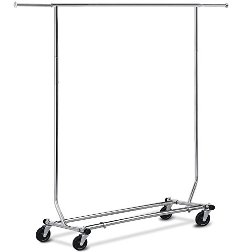 Chrome Heavy Duty Stainless Clothing Garment Rolling Collapsible Rack Hanger US (Stores In Eugene Or)
