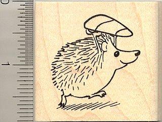Halloween Hedgehog Candy Bandit Rubber Stamp - Wood Mounted