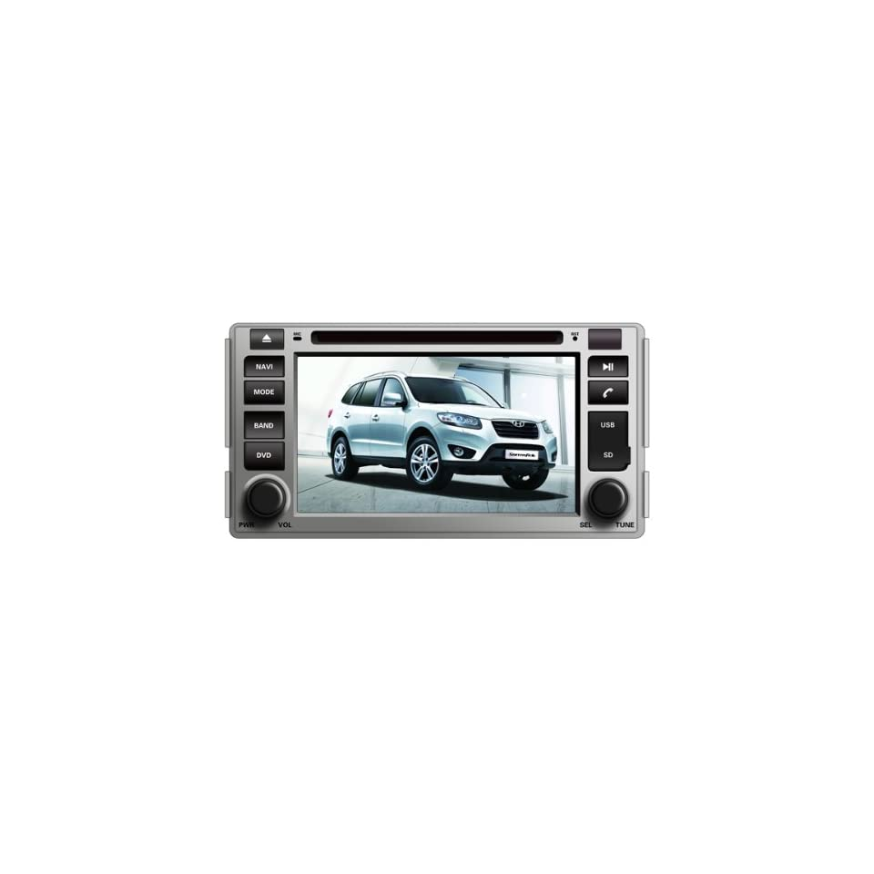 Pioeneer Intelligent(2006 2012) Hyundai Santa Fe 6 8 Inch Touchscreen Double DIN Car DVD Player & In Dash Navigation System,Navigator,Build In Bluetooth,Radio with RDS,Analog TV, AUX&USB, iPhone/iPod Controls,steering wheel control, rear view camera input