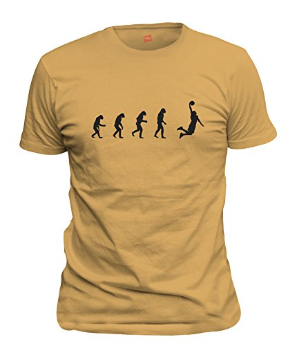 ShirtLoco Men's Evolution Of Man To Basketball Player T-Shirt, Gold Nugget Large