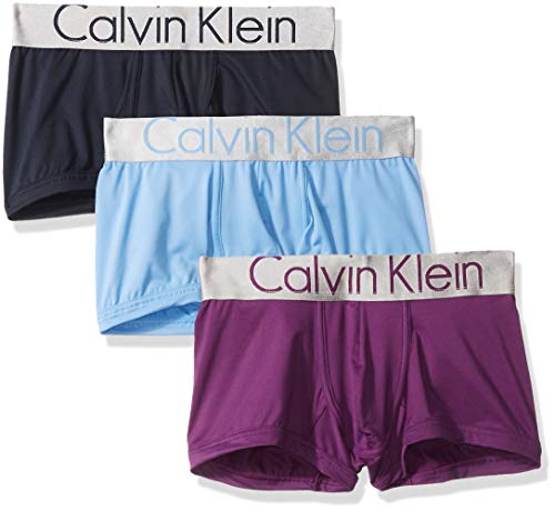 (Calvin Klein Men's Steel Micro Low Rise Trunks, Shoreline/Legacy Provence/Mulberry, L)