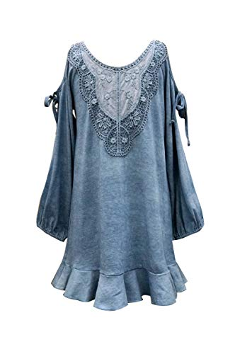 Truly Me, Big Girls' Designer Dress with Crochet Lace Embellishment and Cold Shoulders, Size 7-16 (Denim Blue, 12)