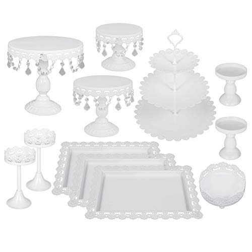 Happybuy 12 PCS White Cake Stands Set Metal Antique Cupcake Stand Pastry Trays Dessert Display Plate Birthday Party Wedding Cake Stand Holder with Crystal Pendants and Beads (12PCS, White)