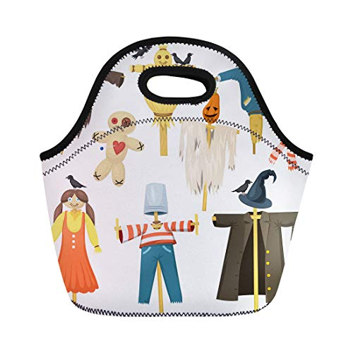 Semtomn Neoprene Lunch Tote Bag Garden Ugly Terrible Scarecrow Fright Bugaboo Dolls on Stiick Reusable Cooler Bags Insulated Thermal Picnic Handbag for Travel,School,Outdoors, Work]()