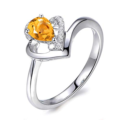 Aokarry - S925 Silver Sterling Womens Zirconia Engagement Ring Yellow Created-Citrine November Birthstone Size 5