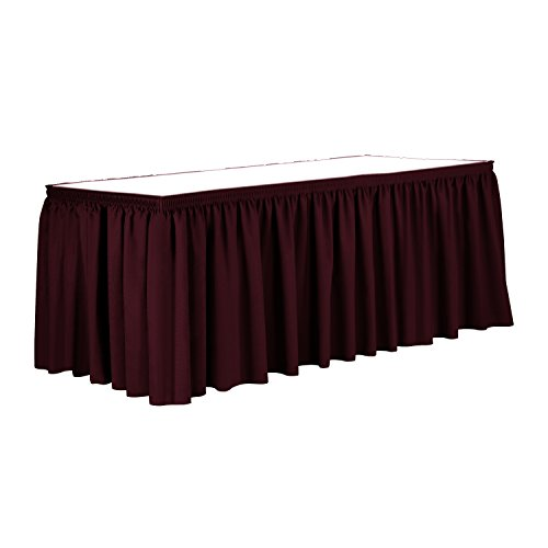 Ultimate Textile 21 ft. Shirred Pleat Polyester Table Skirt Ruby Red by Ultimate Textile