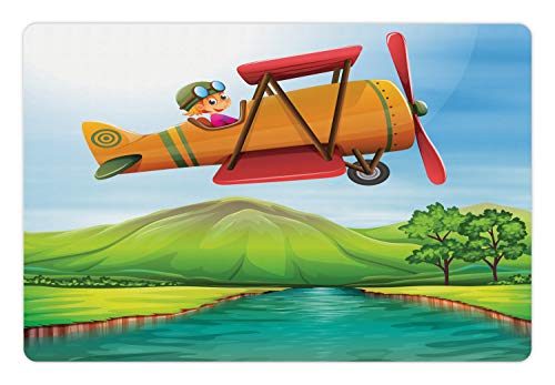 Ambesonne Nursery Airplane Pet Mat for Food and Water, Child Girl Flying Biplane Over The River Green Field with Hills and Trees, Rectangle Non-Slip Rubber Mat for Dogs and Cats, Multicolor
