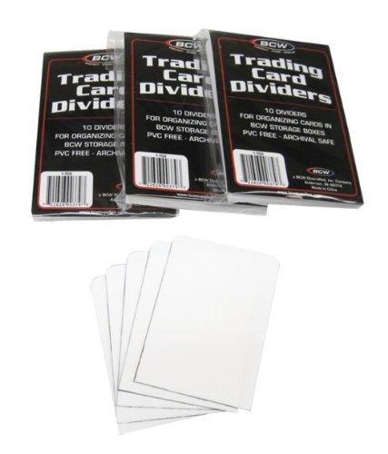 Plastic Divider Card - (3) BCW Brand Trading Card Divider Cards - 10-Pack - TCD - 30 Cards Total