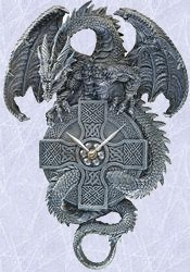 medieval dragon wall clock statue gothic celtic design