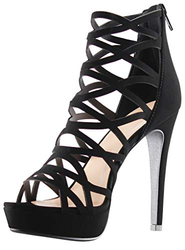 MARCOREPUBLIC Alexandra Womens Open Toe High Heels Platform Shoes Stiletto Dress Sandals - (Black) - ()