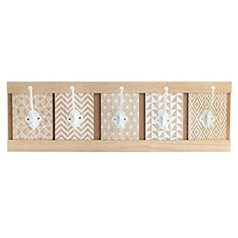 Dcasa - Perchero pared madera original boho 59x18x8 cm