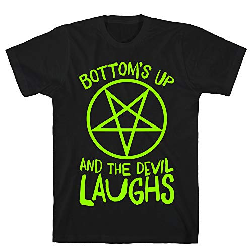 LookHUMAN Bottoms Up, and The Devil Laughs Medium Black Men's Cotton -