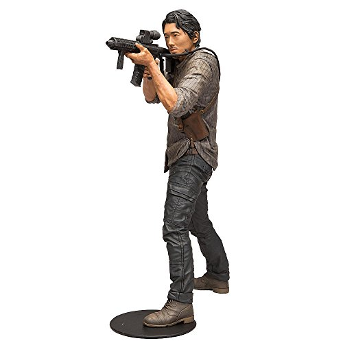 McFarlane Toys The Walking Dead TV 10-Inch Deluxe Glenn Rhee Action Figure with Scooped Assault Rifle and Black Circular Base for Dynamic Posing