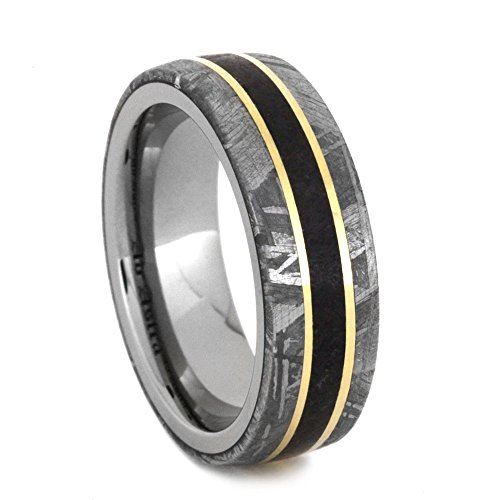 Gibeon Meteorite, Dinosaur Bone, 14k Yellow Gold 7mm Comfort-Fit Titanium Band, Size 8.5 by The Men's Jewelry Store (Unisex Jewelry)