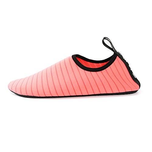 YiWa suave buceo agua zapatos comodidad Unisex antideslizante Fitness calcetines zapatos descalzo nadar agua para playa piscina Surf Buceo Yoga Watermelon Red