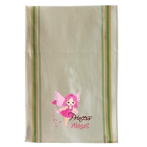 Princess Fairy Canvas - Personalized Custom Text Fairy Princess Cotton Canvas Kitchen Towel Vintage Trim - Green Stripe