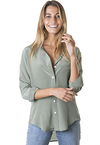CAMIXA Womens 100% Silk Blouse Long Sleeve Ladies Shirts Slim-fit Button Up Pure S Sage