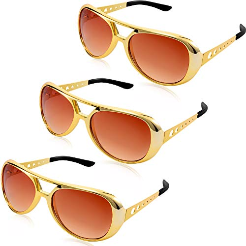 Frienda 3 Pieces Elvis Rockstar Glasses Presley Sunglasses Glasses 50's and 60's Style Glasses for Retro Theme Party Costume ()