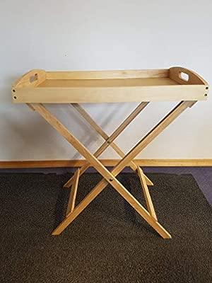 Design Beistelltisch Serviertisch mit Tablett im dekorativen Holz