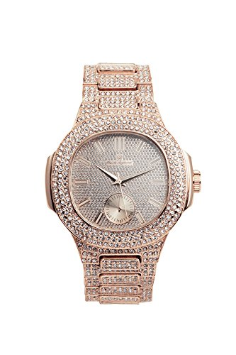 Bling-ed Out Oblong Case Metal Mens Watch - - Charles Raymond Watches For Men