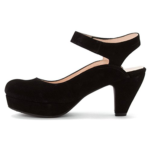 Sacha Women's 10 heels London Shiny Black M Black Kid Vesta Suede Nappa r50rZaqw