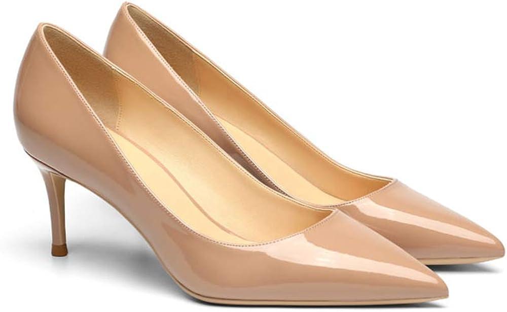 Soulength Talons Aiguilles pour Femmes 6cm Chaussures en Cuir Verni /à Bout Pointu pour Femme Semelle en Caoutchouc antid/érapante Chaussures Simples /él/égantes et Confortables