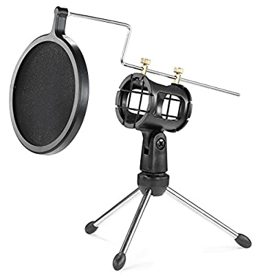 Neewer Foldable Desktop Microphone Tripod Stand with Shock Mount Mic Holder and Double-Net Pop Filter for Podcasts, Internet Chat, Meetings, Lectures, and More by Neewer