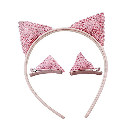 Ears Costume Rat (Cute Pink Cat Ear Hair Headband Hair Clip Set for Kids Girls Adorable Cosplay Holiday Hair)