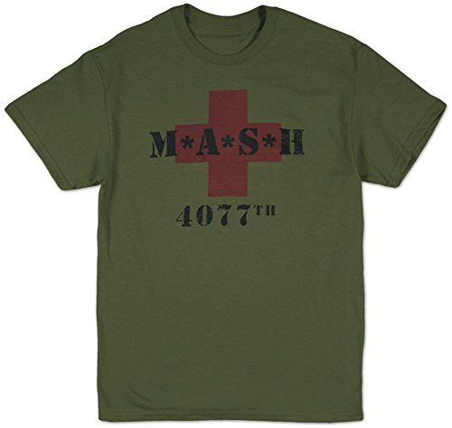 Mash Men's M.A.S.H. 4077th Red Cross T-Shirt Military Green M