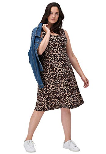 - Ellos Women's Plus Size Fit and Flare Knit Dress - Natural Animal Print, L